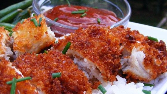 This is my family recipe for Chicken Katsu - Japanese style fried chicken. Can also be used to make Tonkatsu, just use pork cutlets instead of chicken. Serve with white rice and tonkatsu sauce.