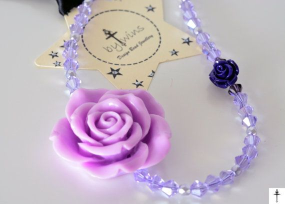 Chunky Purple Statement Necklace Flower Necklace Bib by BYTWINS
