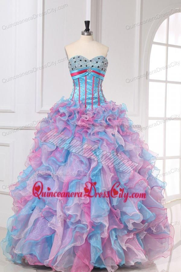 Multi-color Sweetheart Long Beading and Ruffles Quinceanera Dress - http://m.quinceaneradresscity.com