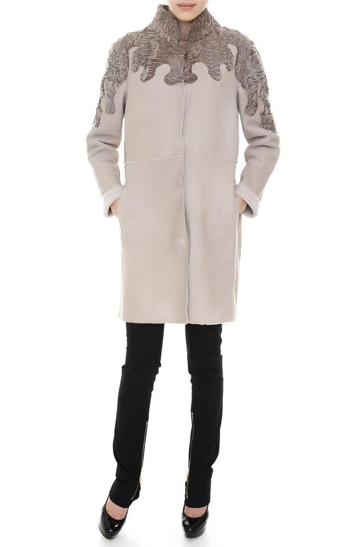 Пальто прямого кроя с меховой вставкой, ворот стойкой. Материал: Натуральный мех свакары http://oneclub.ua/pal-to-44223.html#product_option11