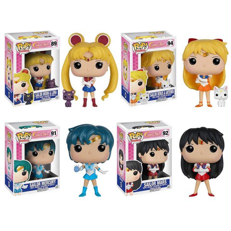 Funko Pop! Sailor Moon Anime Collectors Set: Sailor Moon w/ Luna, Venus w/ Artemis, Sailor Mercury & Sailor Mars, Multicolor