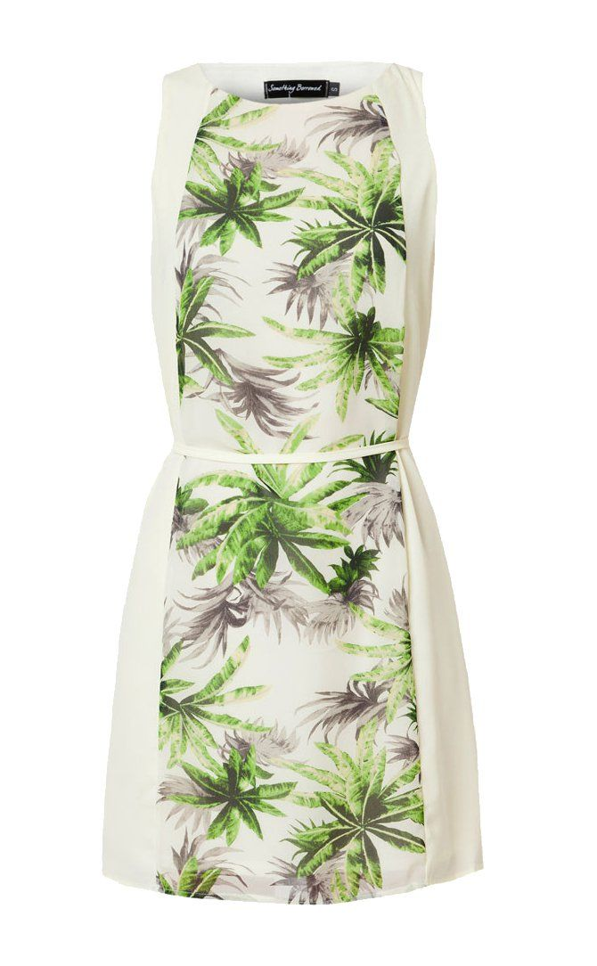 Mini dress with simple design made from comfortable fabric. Cream Abstract Printed Dress from Something Borrowed, abstract coconut trees print with green and grey color. This one is a must for your holiday outfit. http://zocko.it/LD4Kc
