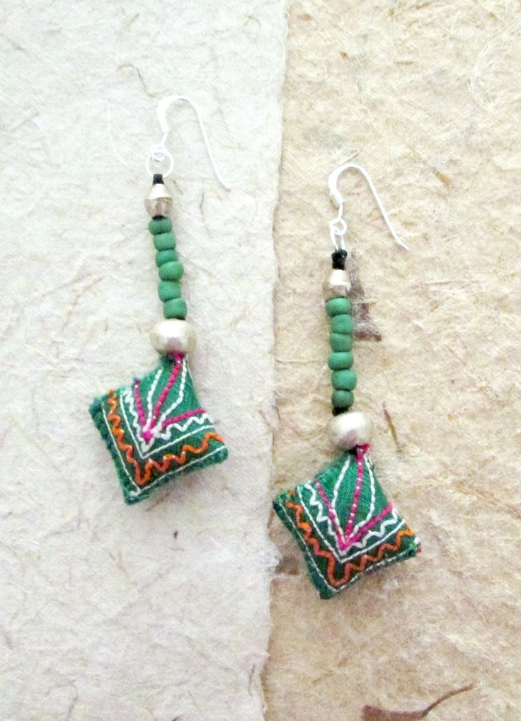 Green Fabric Earrings, Embroided Thai Jewelry