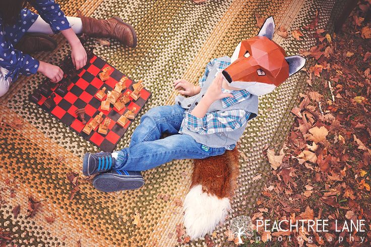 Peoria IL photography fox masks fall outdoor children
