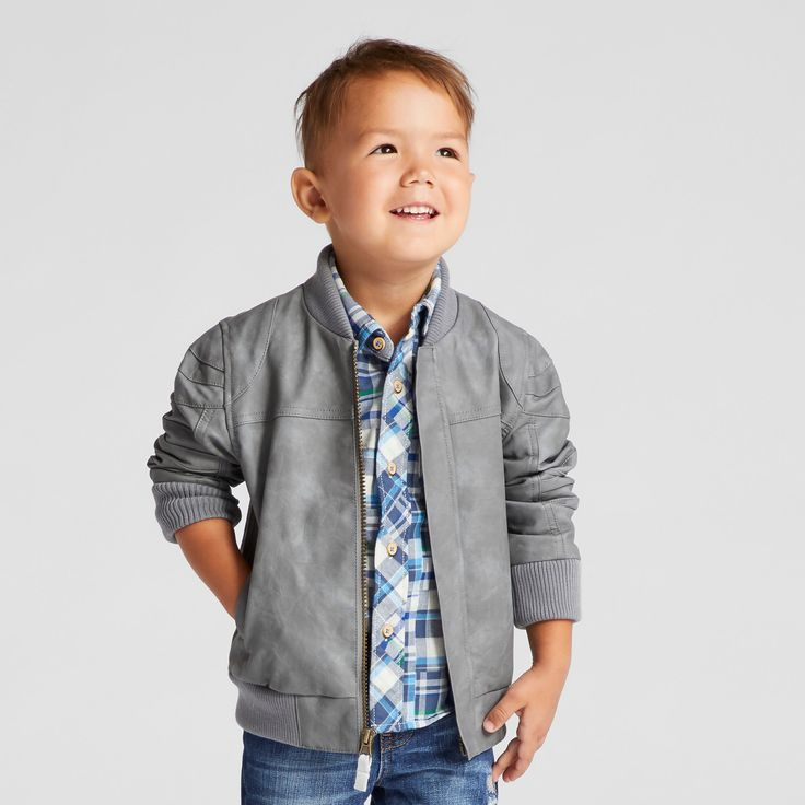 Toddler Boys' Bomber Jacket Genuine Kids from Oshkosh - Grey 3T, Gray