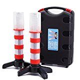 #4: 2 LED Emergency Road Flares Red Roadside Beacon Safety Strobe Light Warning Signal Alert Magnetic Base and Upright Stand in Solid Storage case for Car Marine Vehicles Trucks #movers #shakers #amazon #electronics