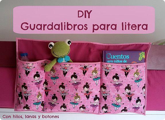 Con hilos, lanas y botones: tutorial guarda libros de tela para colgar en la litera superior                                                                                                                                                                                 Más
