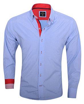 Trendy Italiaans overhemd lichtblauw geruit