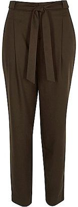 River Island Womens Khaki tie waist tailored pants - Shop for women's Pants - Khaki Pants