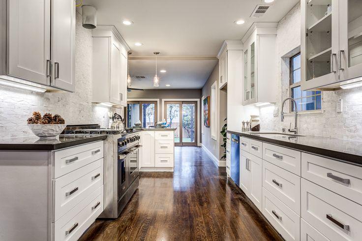 Galley Kitchen  white shaker cabinets  Silestone Kesho