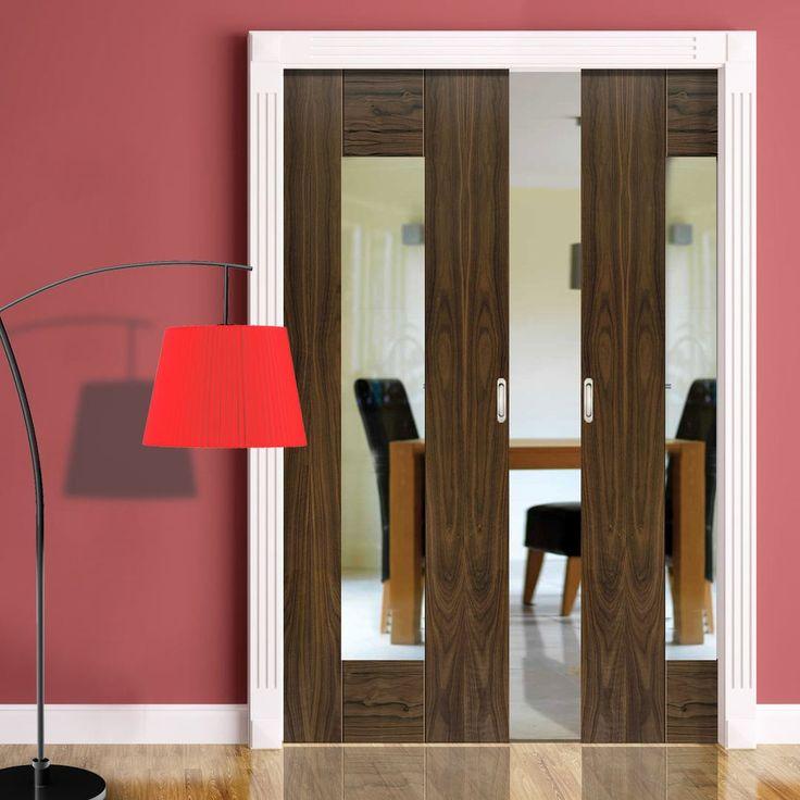 Double Pocket Symmetry Axis Shaker Walnut sliding door system in three size widths with Clear Glass. #internalpocketdoors #slidingdoors #glazedroomdividers