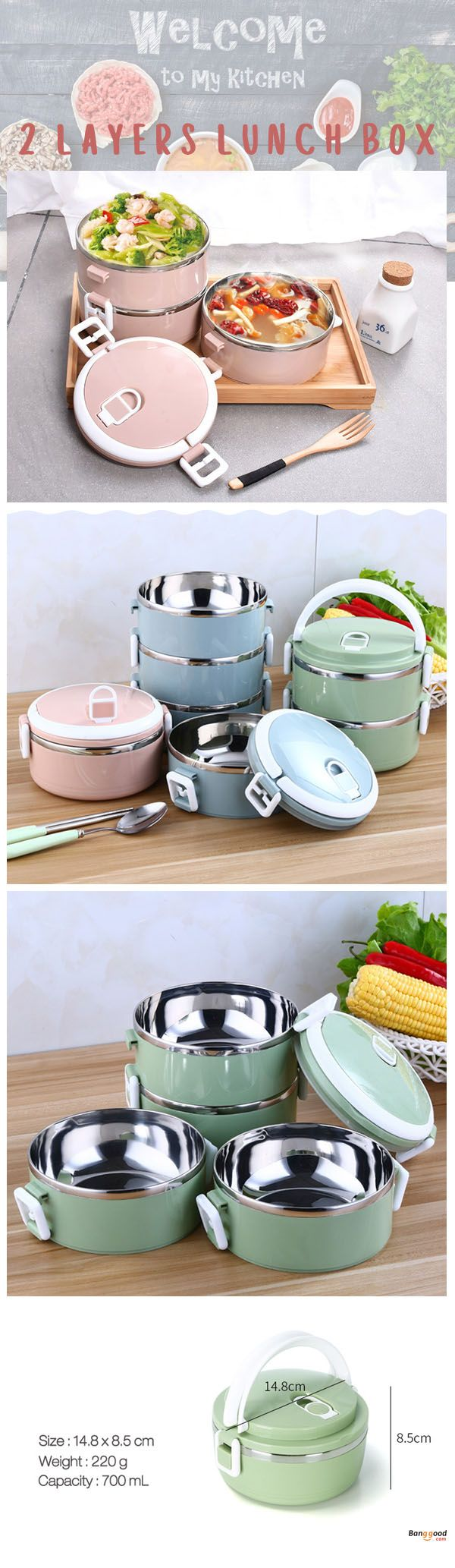 Stainless Steel Food container. 4 colors and 2 sizes available. This lunch box is made of food-grade PP materials and high quality stainless steel. Shop at banggood.
