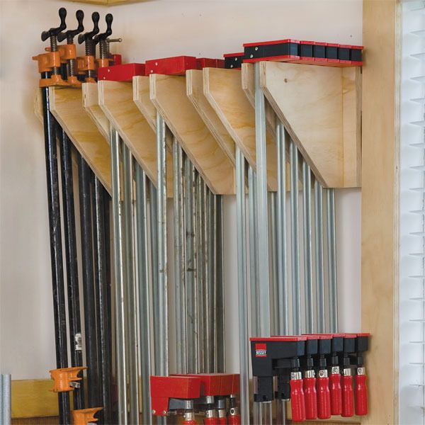 Woodworking Shop Electrical Layout: Wall-Mounted Clamp Rack Woodworking Plan By Woodcraft