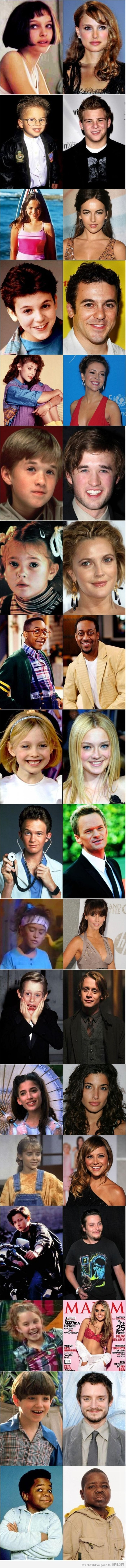 kid actors, then and now.  On this board there are famous people who we can see them change and mature.