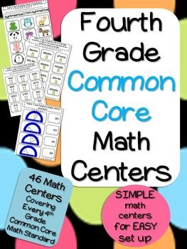 These centers are now available for FOURTH grade! Common Core Math Centers covering EVERY 4th grade math standard!! Easy set up for teacher!!!