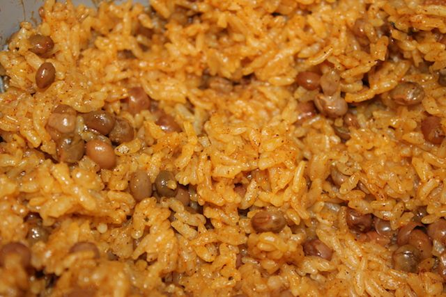 Moro de guandules pigeon pea rice. Dominican beans and rice.