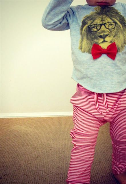 Super cool lion shirt and striped pants