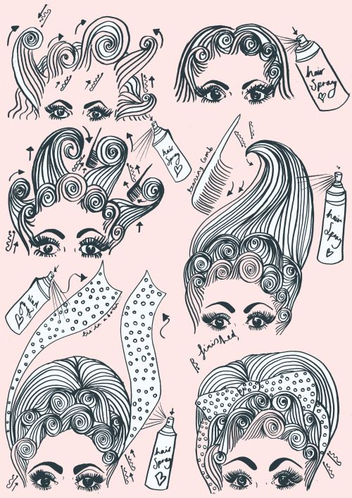 Illustration hairstyles Dolly Parton vintage hair hair tutorial hair salon textiles