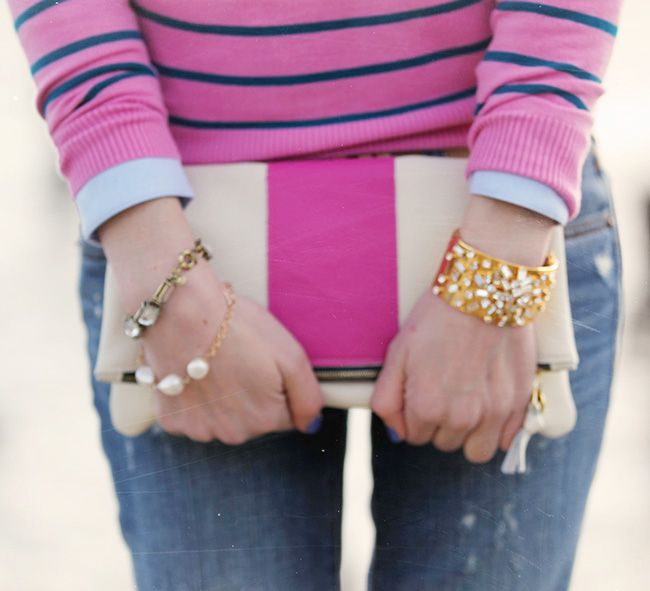 Sarah Vickers of Classy Girls Wear Pearls with our Striped Brooklyn Foldover!  www.kslademade.com