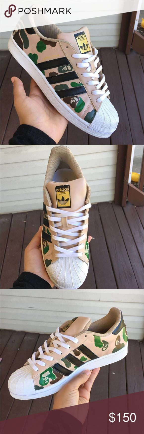Adidas x Bape These are custom hand painted adidas superstars made by me. If you want a pair in your size feel free to let me know and I can do that for you. Adidas Shoes Sneakers