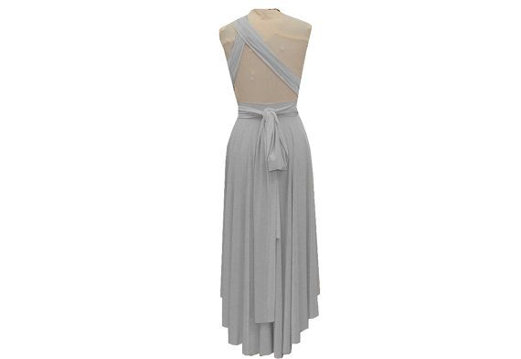 Beautiful 100 in 1 infinity dress in light grey color with high low bottom line in tea length. Comes with bandeau top. Perfect for bridesmaid, wedding, prom, evening and formal events. Perfect maternity dress as well.  Youll get complimentary matching bandeau top for more coverage & twist-wrap styles.  Fits any body shape.  Nice cut at bottom hem and sashes, so if needed you could adjust the length with scissors by yourself.  Shown in light grey color, but more colors available, please…