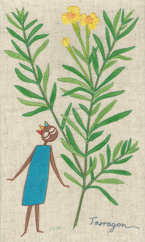 "herb no.10 ""tarragon"" needlework illustration Ⓒ Nagako Ono HAPPa_Ya #embroidery #herbs"