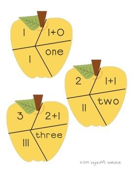 Free apple number puzzles. Great way to help kids learn number concept.