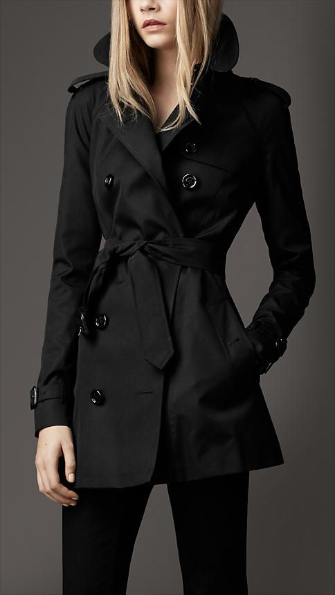 Short Technical Cotton Trench Coat by Burberry Love it in black and military red.