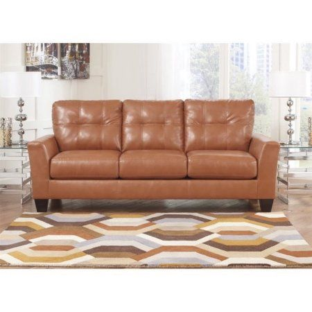 Ashley Paulie Leather Sofa in Taupe - Walmart.com