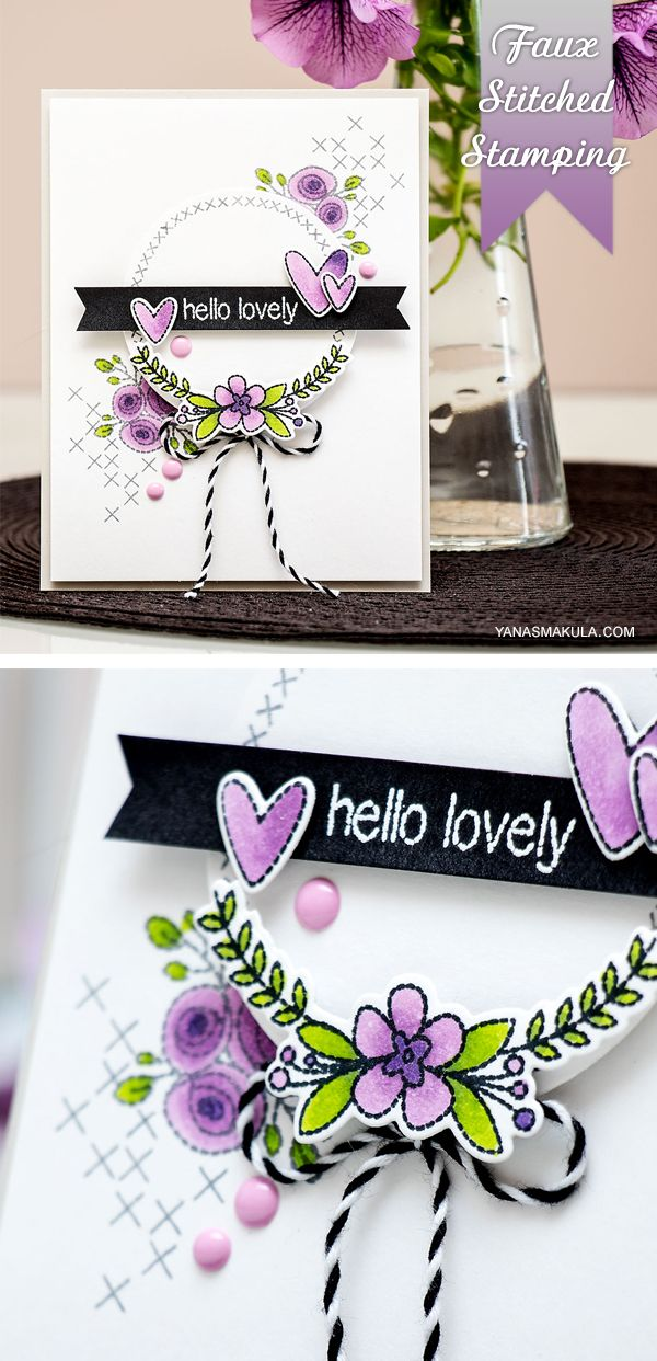 Create lovely faux stitching on a card using stamps and inks. Details here http://www.yanasmakula.com/?p=50817