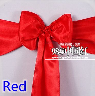 Red colour high quality satin sash chair bow for chair covers sash spandex party and wedding decoration wholesale