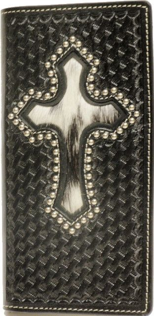 (WFAC276) Western Hair-On Black Leather Rodeo Wallet/Checkbook Cover with Cross