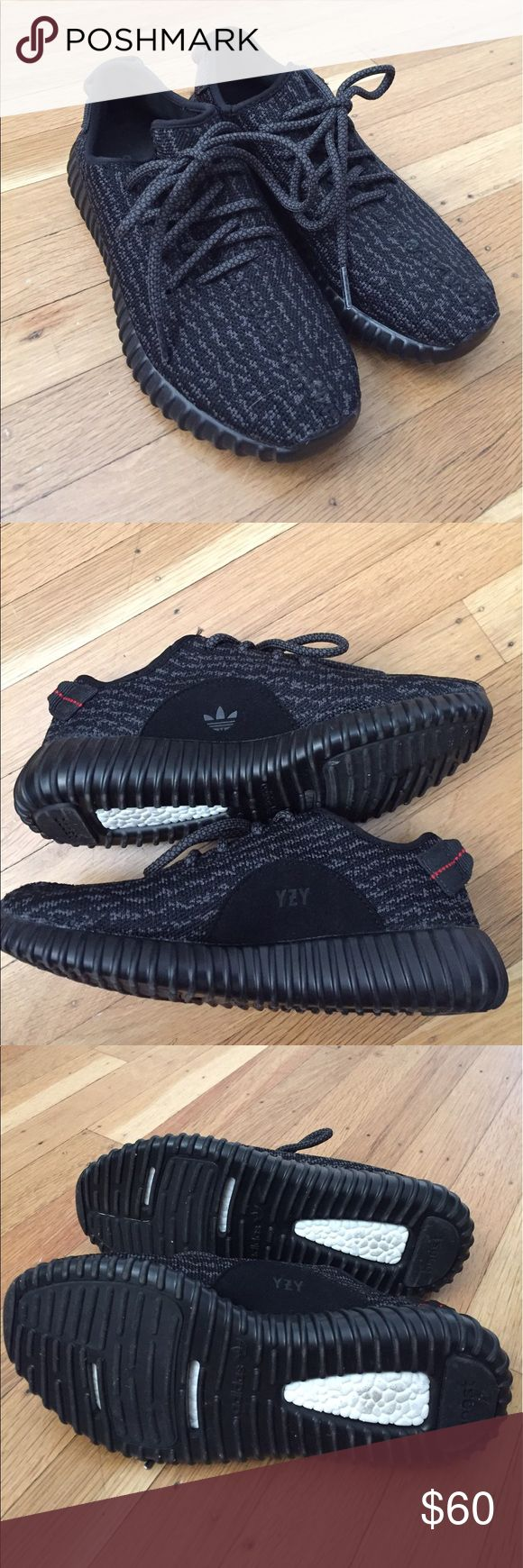 Yeezy boost 350 pirate black non authentic ( fake ) yeezy boost 350 pirate black. No box no receipt. Size 5 in men's 7 in women's. runs true to size. Yeezy Shoes Sneakers