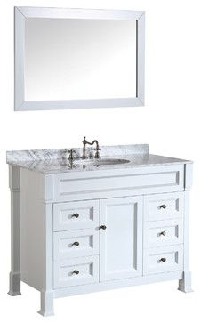 43'' Bosconi SB-278WH Vanity Set traditional + Carrara Marble bathroom-vanities-and-sink-consoles