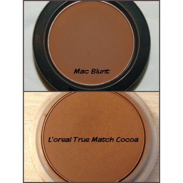 #dupes  If you don't want to #spend a lot of #money in an #expensive #contouring powder like #Mac's #Blunt, try using an alternative, like a darker #facepowder. @J O Smith #Truematch Face Powder in #Cocoa is a great #dupe for Mac's Blunt blush, which a lot of #makeupartist us as #contouring powder. Almost identical, L'oreal is just a bit on the cooler tone side.