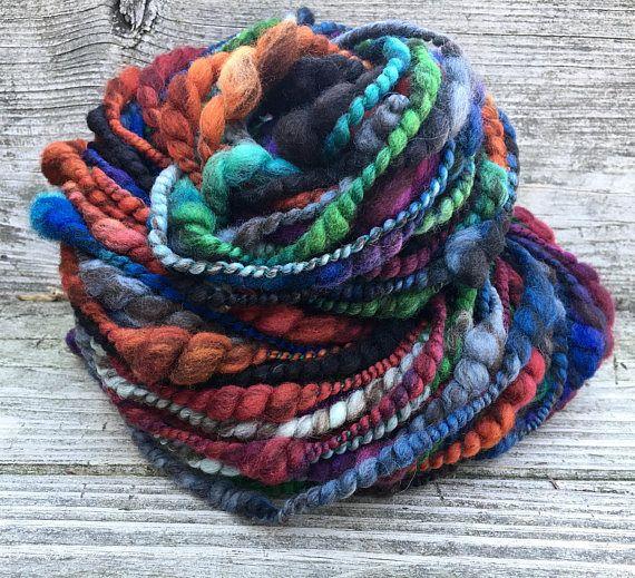 Handspun Yarn Art Yarn Bulky Thick and Thin 2 Ply Coil