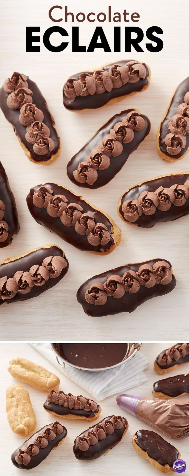 This Chocolate Eclairs Recipe is oooh-la-lovely! Made using the Easy Blooms Tip Set, these chocolate eclairs are a sweet and pretty dessert for parties, birthdays, holidays and occasions. Use your favorite vanilla pudding to fill these eclairs and top them with beautiful chocolate roses. It's like a little taste of Paris any time of year!