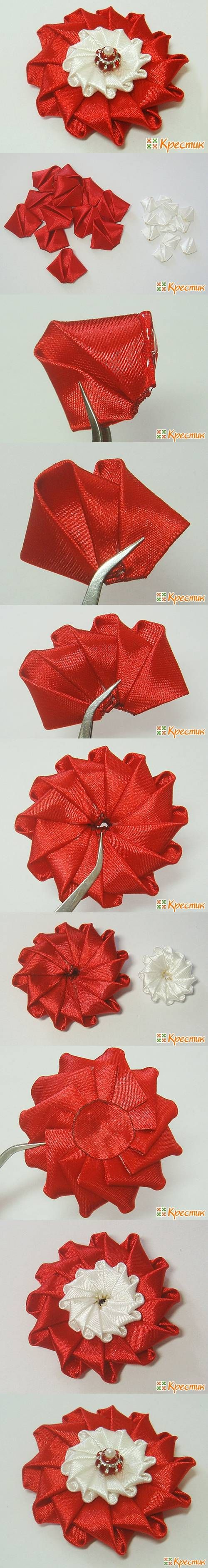 DIY Bright Satin Ribbon Flower | iCreativeIdeas.com Like Us on Facebook ==> https://www.facebook.com/icreativeideas