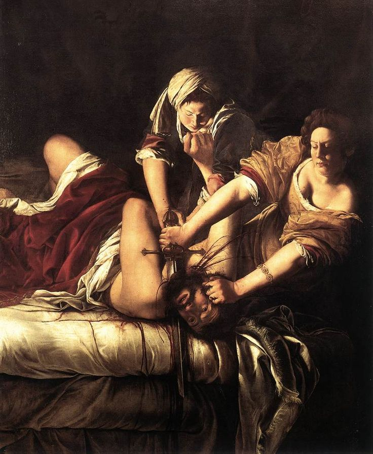 Judith Beheading Holofernes by Artemisia Gentileschi. Gentileschi's own rape by her art tutor is what inspired her to paint this and her following works, depicting strong, confident women.