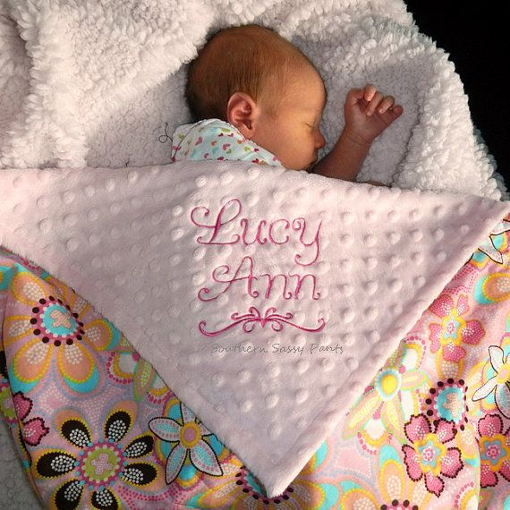 Embroidered Baby Blanket , Baby Girl Blanket - Flower Crystals and Minky - Personalization Included , LIMITED but still available