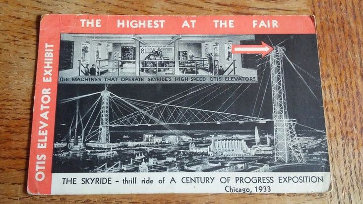 Postcard IL Chicago The Worlds Fair 1933 Otis Elevator Exhibit Sky Rides