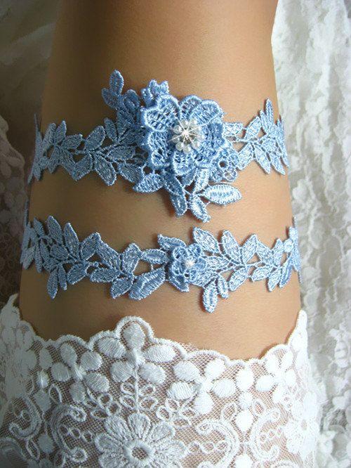 Blue Bridal Garter Wedding Bride Set Lace Something Rhinestone Beaded Floral