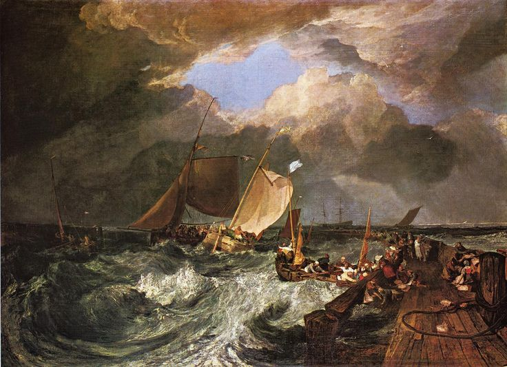 Calais Pier, with French Poissards Preparing for Sea, an English Packeet Arriving, 1803, William Turner