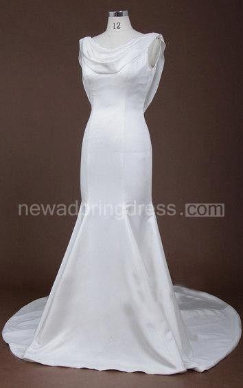 1920S Vintage Sleek Cowl Neck Fit and Flare Long Wedding Dress