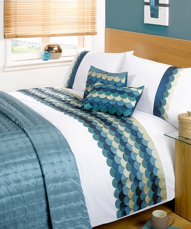 Buy a Waves Single Duvet Cover Set C/Teal from Litecraft, Features a  Contemporary Teal Wave Effect, Free UK Delivery!
