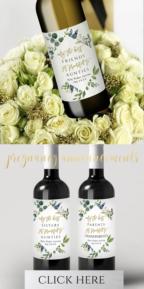Best Baby Bottles 2020 Greenery Watercolor Pregnancy Baby Announcement, Personalized Wine