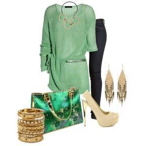 Кремовые туфли, синие джинсы, зеленый вязаный свитер, ярко-зеленая сумка, золотые украшения