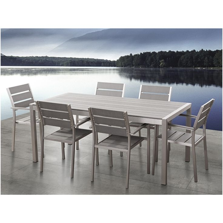Aluminium Garden Furniture Polywood Table 180 Cm With 6 Chairs Vernio