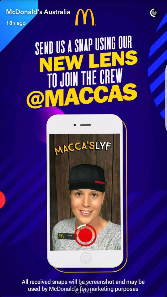 McDonald's 'Snaplications' - New mode of job applications for millennial The new mode of job applications for millennial by McDonald's in Australia  McDonald's joined hands with Snapchat in its most innovative application process to attract job applicants in the age group of 16-25 which is also the section that most uses Snapchat. #Snaplications aims to attract 250,000 millennial to be a part of their fast food chain in Australia, making the application process innovative a