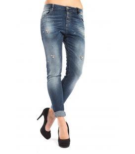 MARYLEY Jeans Boyfriend with strass DENIM Art. B60S/RFL MADE IN ITALY